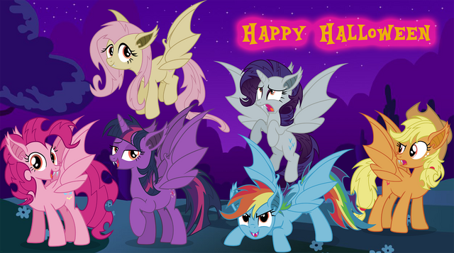 File:FANMADE - Bat Mane Six - Happy Halloween.png