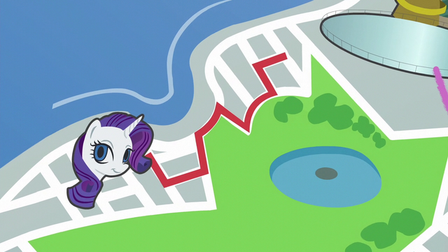 File:Map of Manehattan; red line leads to Rarity S6E3.png