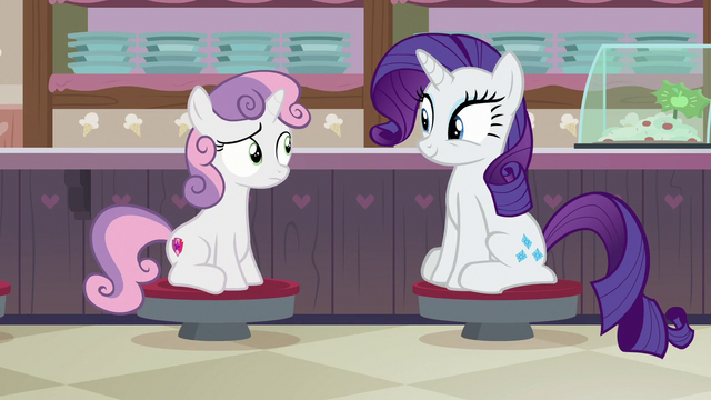 File:Rarity and Sweetie Belle sitting in the ice cream shop S7E6.png