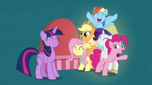 File:Twilight's friends appear behind unlocked door S7E2.png
