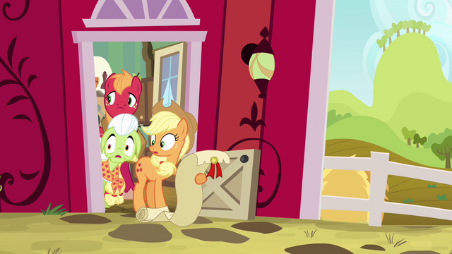 File:Applejack, Big Mac, and Granny Smith watching Pinkie S4E09.png