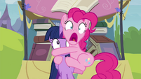 Pinkie Pie clinging to Twilight S4E22