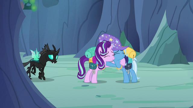 File:Starlight Glimmer and Trixie hugging S6E26.png