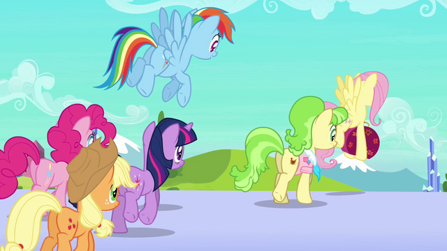 File:Main ponies and Peachbottom leave the station S03E12.png