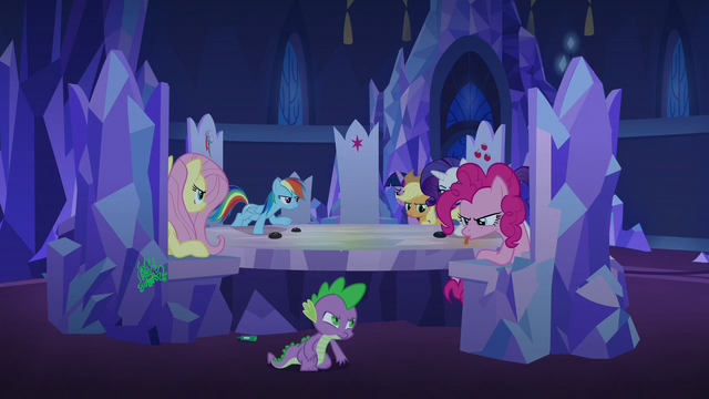 File:Pinkie Changeling sticks her tongue out at Spike S6E25.png