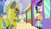 Applejack and Rainbow Dash getting off the train S2E25.png