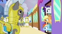 Applejack and Rainbow Dash getting off the train S2E25