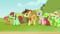 Babs and Apple family looking at Applejack S3E8.png