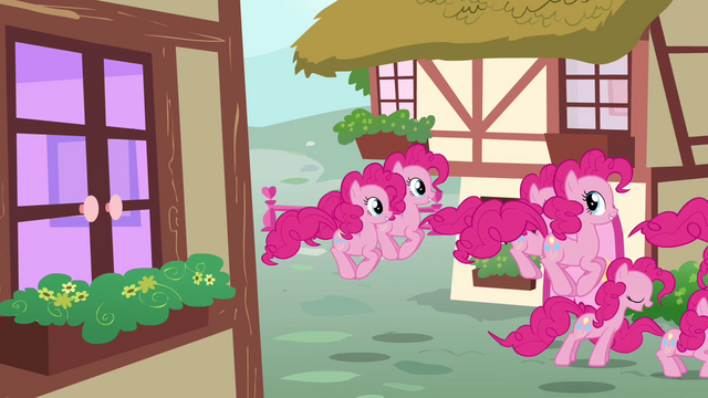 File:Pinkie Pie clones hopping on the streets S3E03.png