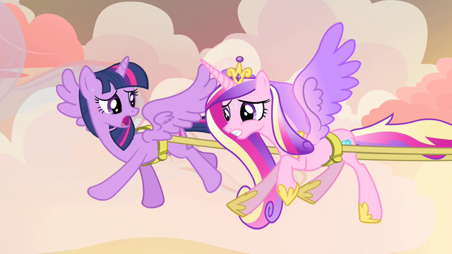 File:Twilight and Cadance sweating S4E11.png