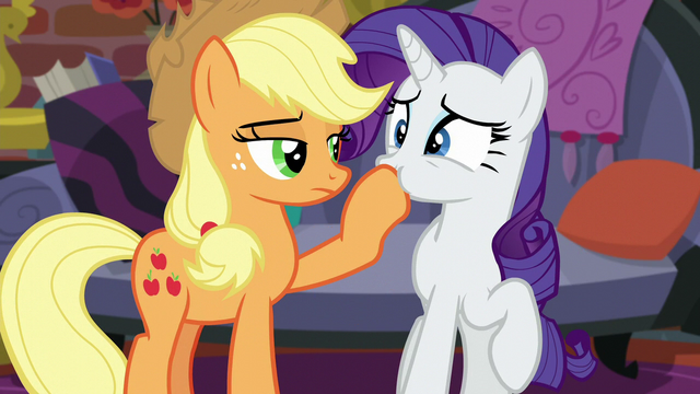 File:Applejack plugs Rarity's mouth with her hoof S5E16.png