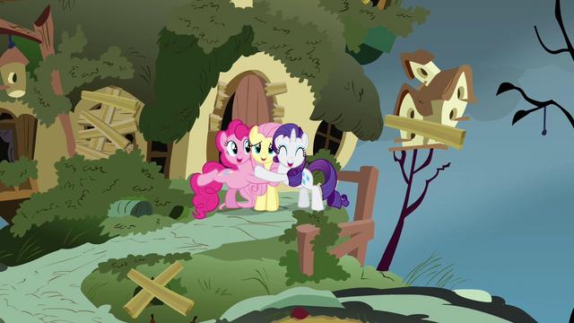 File:Pinkie Pie Rarity Fluttershy hugs S2E19.png