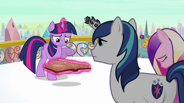 File:Twilight 'Anything about the Crystal Ponies powering the heart' S3E1.png
