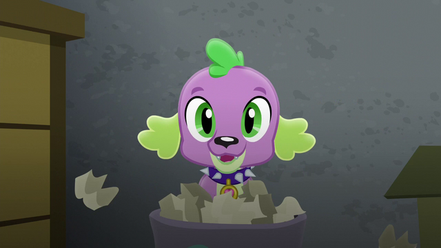 File:Puppy Spike popping out of the trash can EG3.png