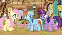 Rainbow Dash being told about Rarity S3E13