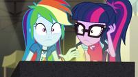 Twilight and Rainbow hear Juniper Montage's voice EGS2