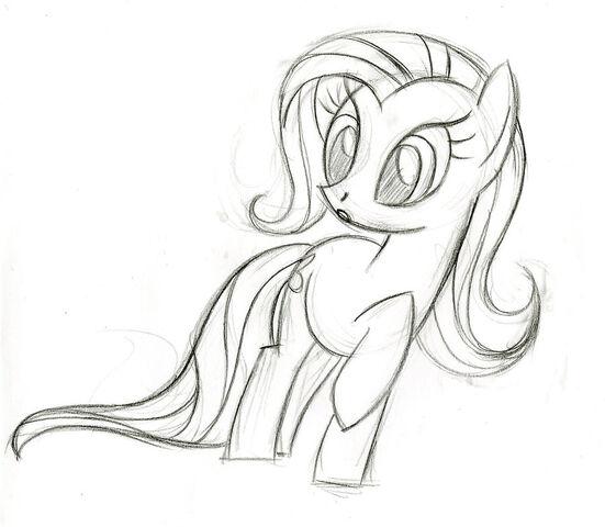 File:Fluttershy surprised sketch.jpg