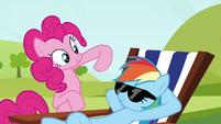 Pinkie Pie clone waving her hoof at Rainbow S3E03