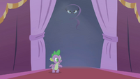 Spike telling Rarity to come out and take a bow S1E14
