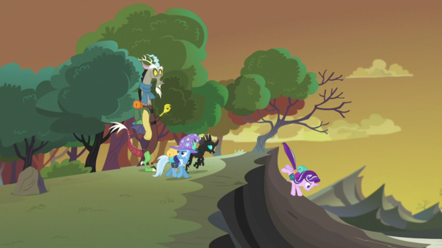 File:Starlight, Thorax, and Trixie walking toward the hive S6E26.png