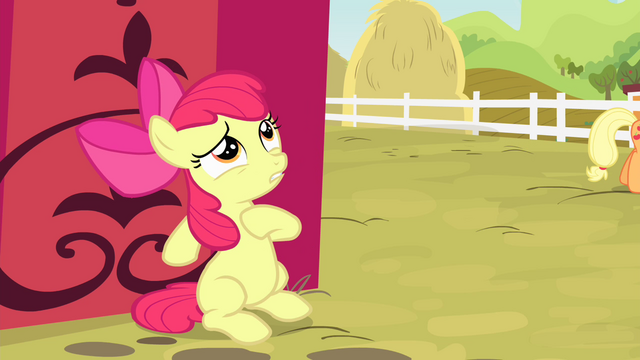 File:Apple Bloom hiding from Applejack S4E17.png