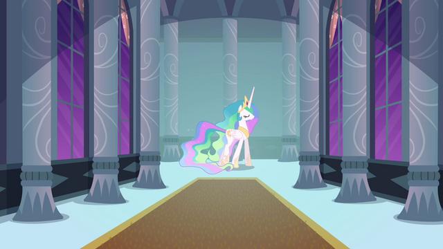 File:Princess Celestia walks through castle corridor S4E01.png