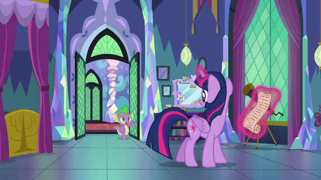 File:Spike enters Twilight's bedroom S7E1.png