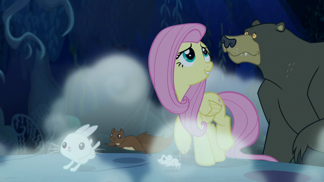 File:Fluttershy and animals walk through the forest at night S6E15.png