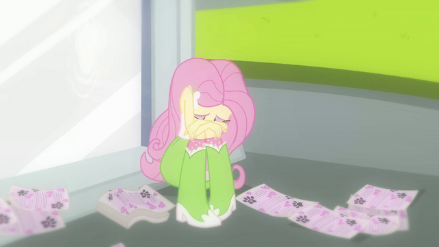 File:Fluttershy crying by statue EG.png