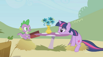 Twilight and Spike at a cafe table S1E03