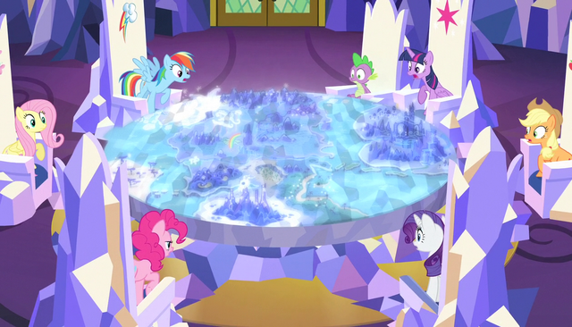 File:Mane six looking at the map S5E1.png