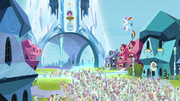 Rainbow Dash hugging the Crystal filly S03E12