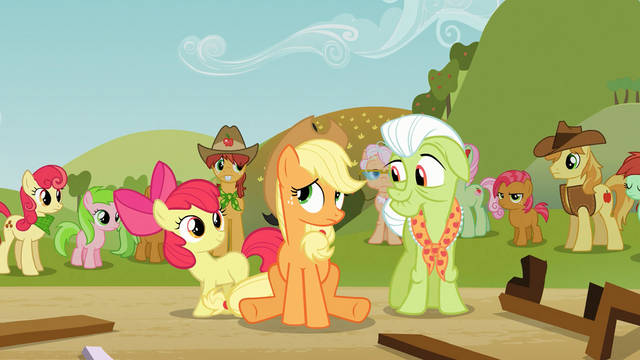 File:Apple Bloom and Granny Smith cheer up Applejack S03E08.png
