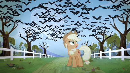 Applejack sees the bats flying in the sky S4E07.png