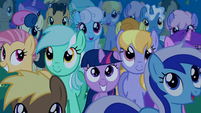 Filly Twilight in the crowd smiling S1E23