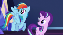 Rainbow and Starlight hear Spike enter S6E1
