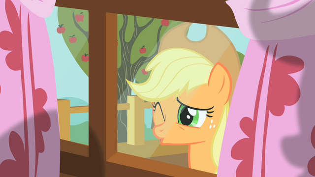 File:Applejack peering through window 4 S01E18.png
