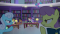 Library ponies shushing Twilight S5E12.png