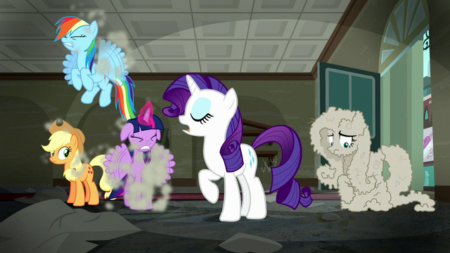 "File:Rarity ""No need to fret""; RD, AJ, and Twilight shakes dust off S6E9.png"