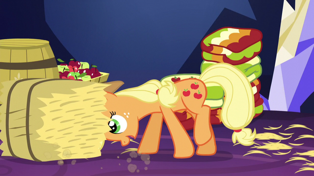 File:Applejack pushing bale of hay S5E3.png