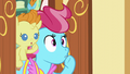 Mrs. Cake and Pumpkin Cake shushes Pinkie; Mrs. Cake backs up S5E19.png