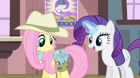 Rarity levitating a wrap into Fluttershy's saddlebag S4E11