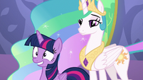 Celestia and Twilight smiling for medal recipients S7E1