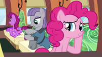 Pinkie Pie and Maud riding the train S4E18