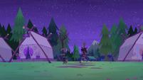 Twilight Sparkle and Spike leaving Camp Everfree EG4