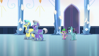 Spike and Crystal Hoof walk behind royal guards S6E16