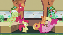 AJ and Pinkie laugh themselves out of their seats S5E20