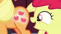 Apple Bloom looks at Applejack's glowing cutie mark S5E17.png