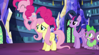 Pinkie Pie hopping around Fluttershy S5E21