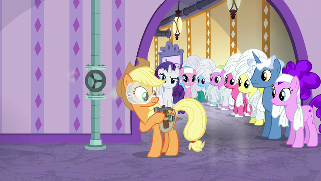 File:Ponies watching Applejack work S6E10.png